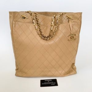 💖BEAUTIFUL 💖Chanel Beige Lambskin Jumbo Tote
